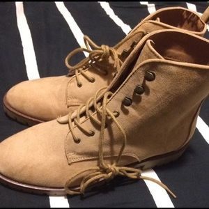 Qupid Faux Suede Camel Boots